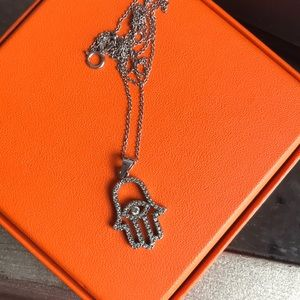 Jewelry - Fatima Hamsa Hand Evil Eye SterlingSilver Necklace